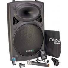 IBIZA PORT8 mobilā skaņas iekārta (DJ Box Bluetooth USB Akkumulators Mikrofoni)